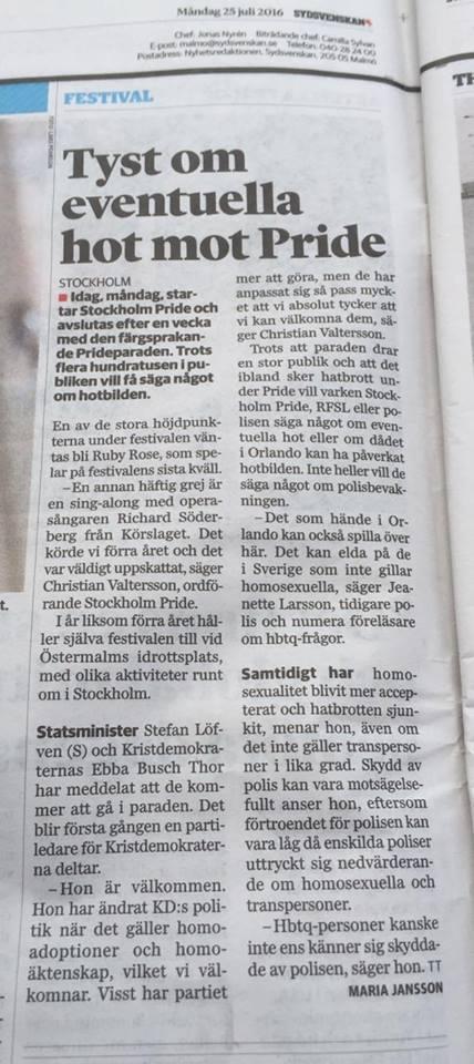 Sydsvenskan om Stockholm Pride och terrorattentatet i Orlando. Intervju med Jeanette Larsson - 1
