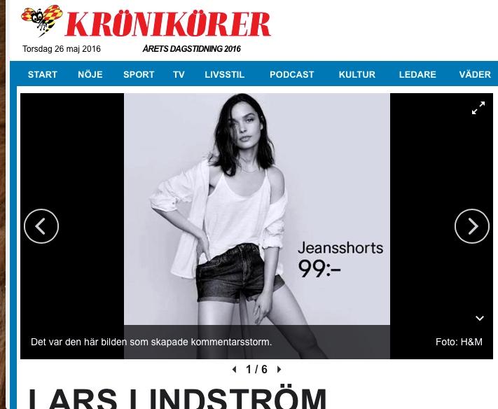 Lars Lindström, Krönika, Kvällsposten/Expressen - 1