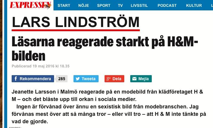 Lars Lindström, Krönika, Kvällsposten/Expressen - 2