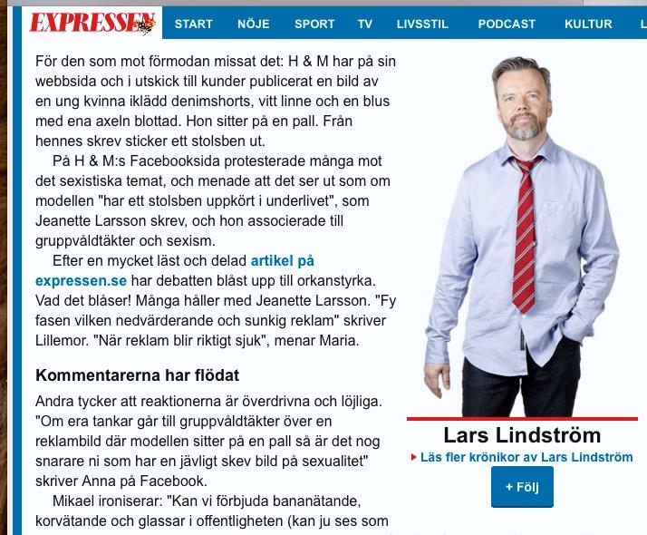 Lars Lindström, Krönika, Kvällsposten/Expressen - 3