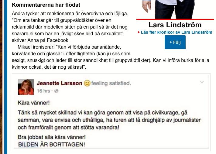 Lars Lindström, Krönika, Kvällsposten/Expressen - 4