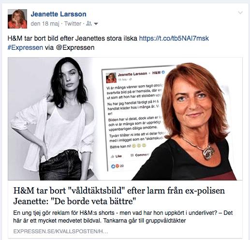 Jeanette Larsson inlägg på Facebook, 2016-05-18