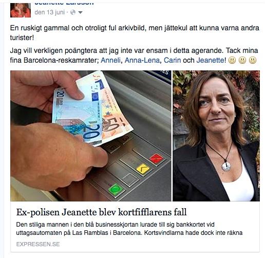 Ex-polisen Jeanette blev kortfifflarens fall, Kvällsposten/Expressen, 201-06-13: