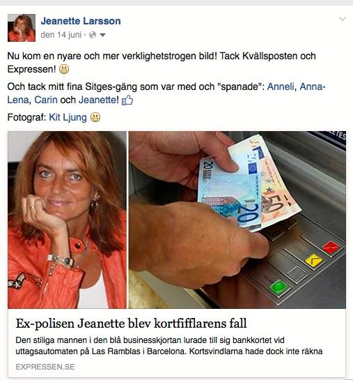 Ex-polisen Jeanette blev kortfifflarens fall, Kvällsposten/Expressen, 201-06-13 - 2:
