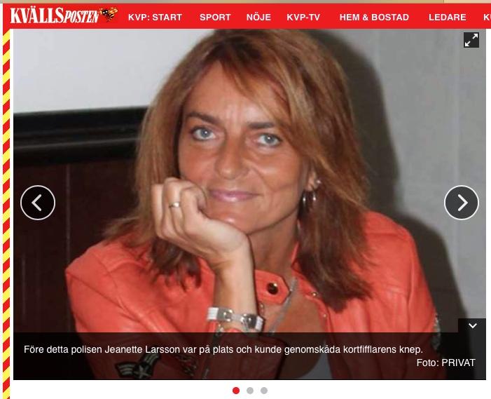 Ex-polisen Jeanette blev kortfifflarens fall, Kvällsposten/Expressen, 201-06-13 - 3: