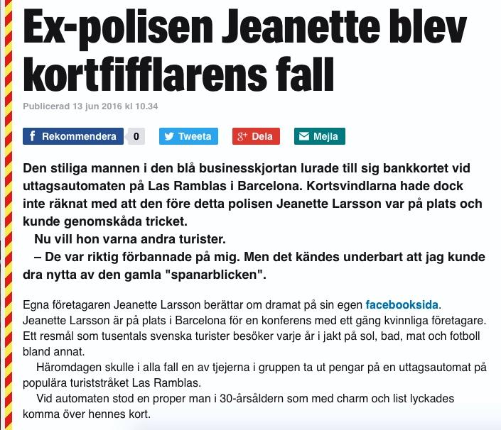 Ex-polisen Jeanette blev kortfifflarens fall, Kvällsposten/Expressen, 201-06-13 - 4: