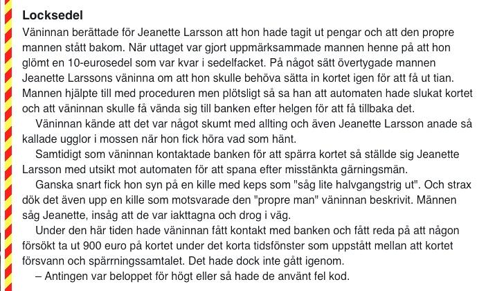 Ex-polisen Jeanette blev kortfifflarens fall, Kvällsposten/Expressen, 201-06-13 - 5: