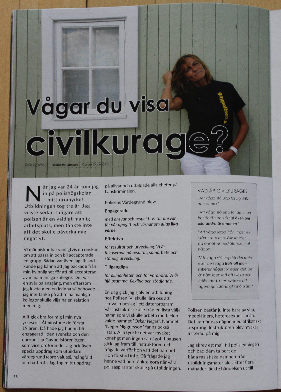 """Dogwatch, Jul 2016.  Artikel: """"Vågar du visa civilkurage"""" av Jeanette Larsson, Carpe Courage AB. Första sidan."""