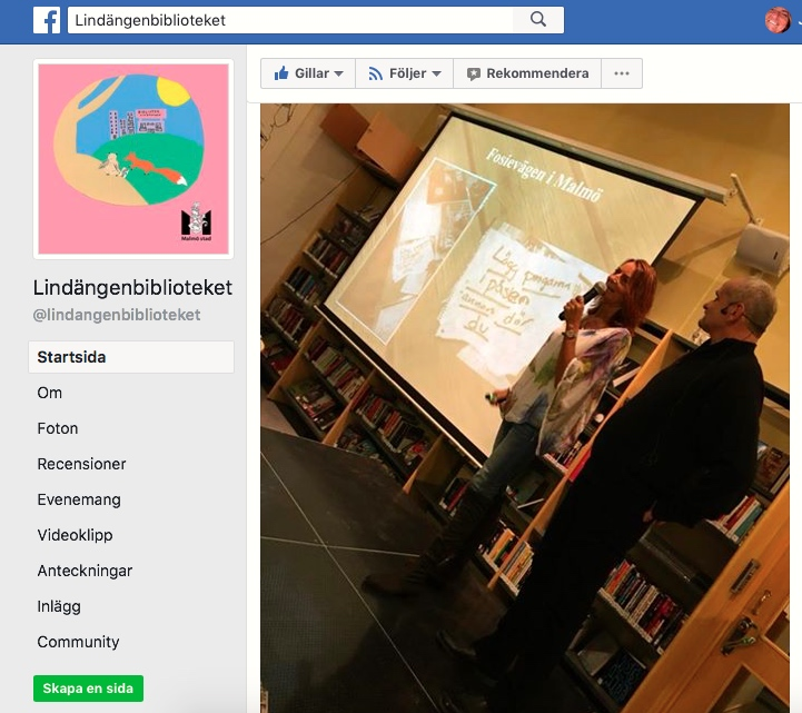 2017-10-30, Lindängenbiblioteket. FB-inlägg från arrangören.