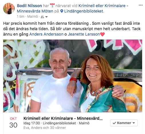 2017-10-30, Lindgängenbiblioteket i Malmö. FB-inlägg från åhörare.