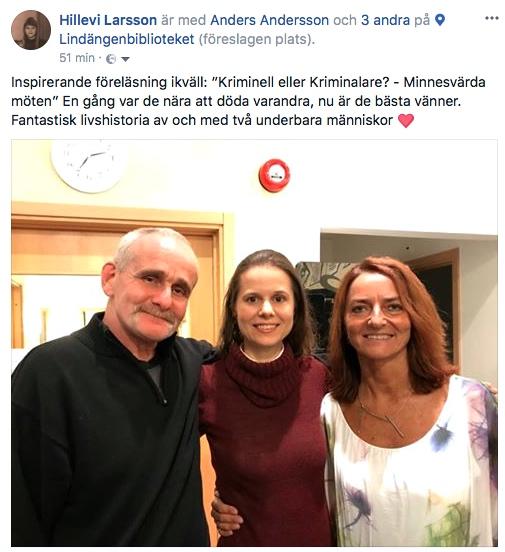 2017-10-30, Lindgängenbiblioteket i Malmö. FB-inlägg av Hillevi Larsson (S)