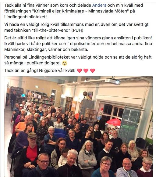 2017-10-30, Lindgängenbiblioteket i Malmö. Jeanette Larssons FB-inlägg.