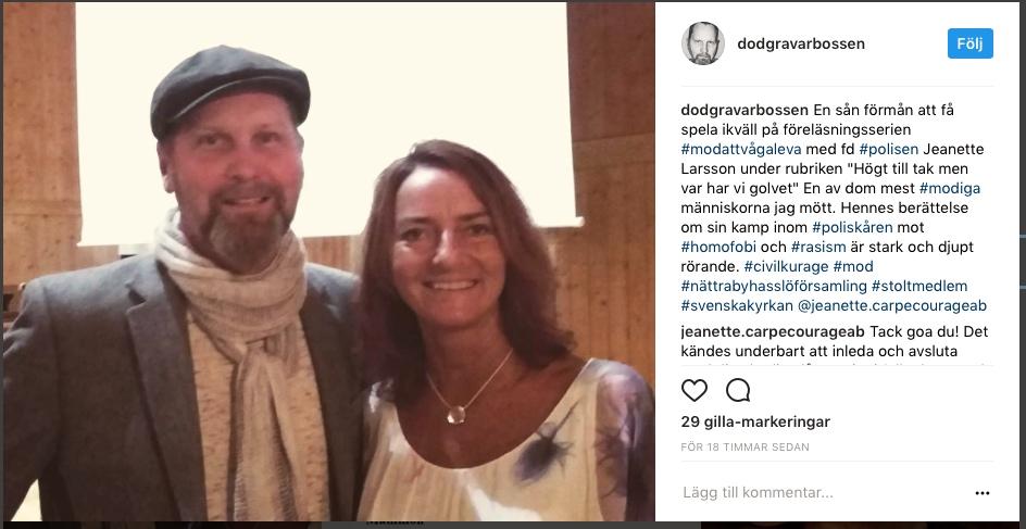 2017-10-26, Nättraby Hasslö Församling, Instagraminlägg från musikern.