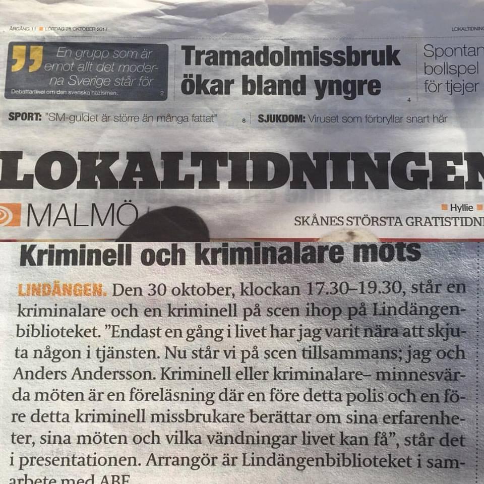 """2017-10-28, Lokaltidningen uppmärksammar vår föreläsning """"Kriminell eller Kriminalare - Minnesvärda Möten"""", Lindängenbiblioteket i Malmö den 30 oktober 2017."""