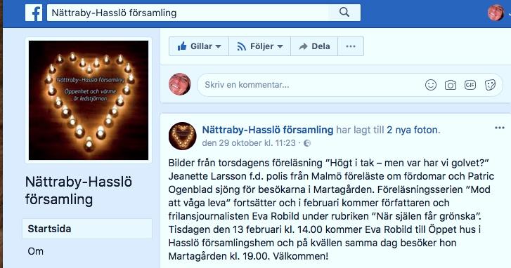 2017-10-26, Nättraby Hasslö Församling. FB-inlägg från arrangören.