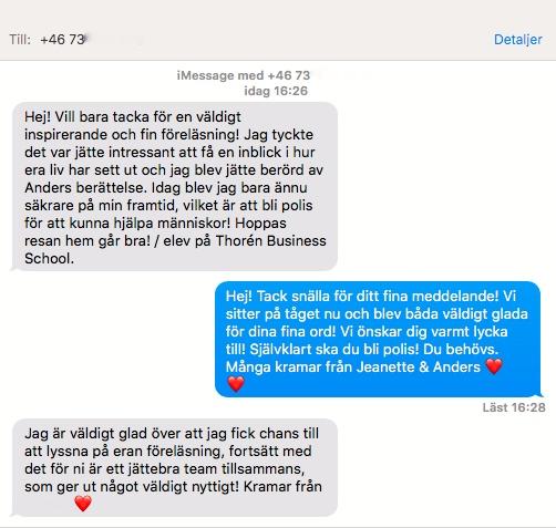 2018-03-20, Thorén Business School, Nationernas Hus i Linköping. Meddelande från elev och åhörare.