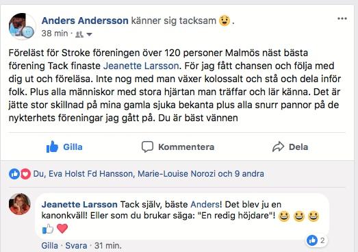 2018-03-26, Strokeföreningen i Malmö. FB-inlägg från Anders Andersson.