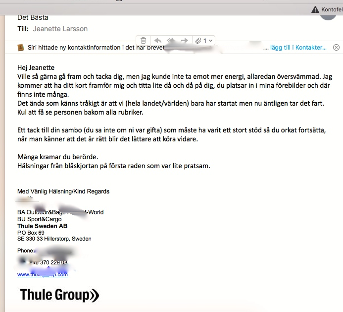 2018-03-13 - 15, Mail från medarbetare, Thule Group