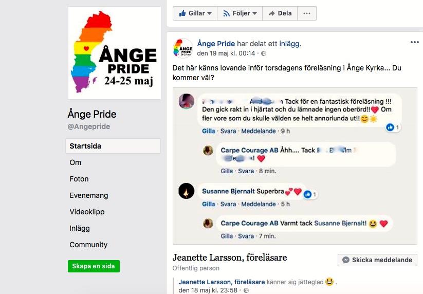 2018-05-24, Ånge Pride, FB-inlägg.