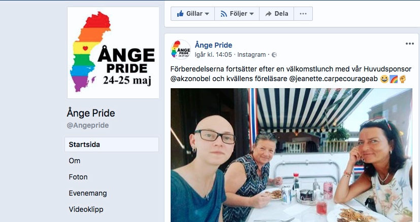 2018-05-24, Ånge Pride, FB-inlägg. Erika, Eva Mörk Månsson och Jeanette Larsson.