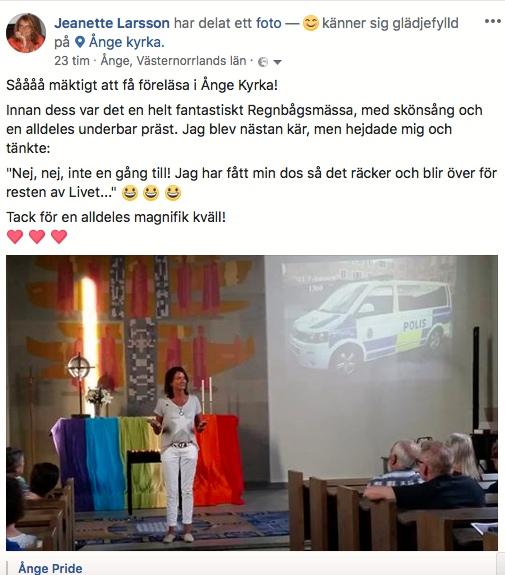 2018-05-24, Ånge Pride, FB-inlägg från Regnbågsmässsan, Ånge Kyrka