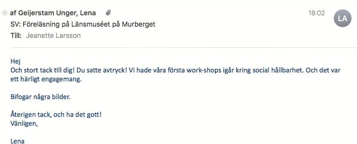 2018-09-18, Härnösand Energi & Miljö AB, Länsmuéet, Murberget i Härnösand. Mail från arrangören.